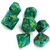 Malachite Green & Yellow Vortex Polyhedral 7 Dice Set